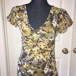 Ann Taylor LOFT womens floral faux wrap blouse